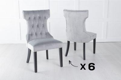 Courtney Set of 6 Upholstered Dining Chair / Black legs - Luxorious Light Grey Velvet