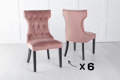 Courtney Set of 6 Upholstered Dining Chair / Black legs - Luxurious Pink Velvet
