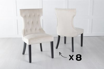 Set of 8 Courtney Champagne Velvet Fabric Dining Chair