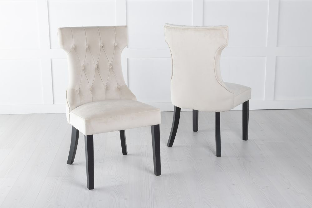 Courtney Champagne Velvet Fabric Dining Chair
