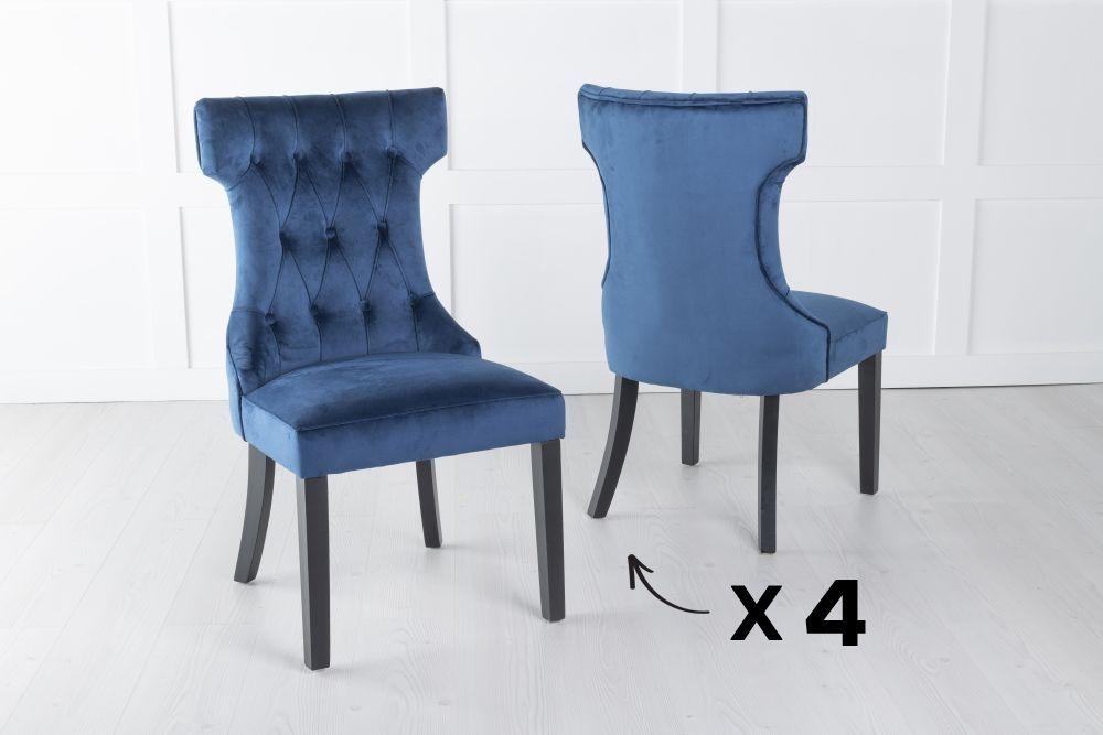 Courtney Set of 4 Upholstered Dining Chair / Black legs - Luxurious Blue Velvet