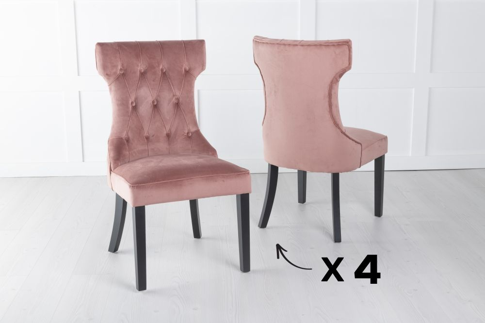 Courtney Set of 4 Upholstered Dining Chair / Black legs - Luxurious Pink Velvet