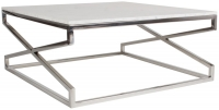 Crossroad White Real Marble and Stainless Steel Chrome Coffee Table