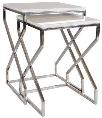 Crossroad White Real Marble and Stainless Steel Chrome Nest of 2 Tables