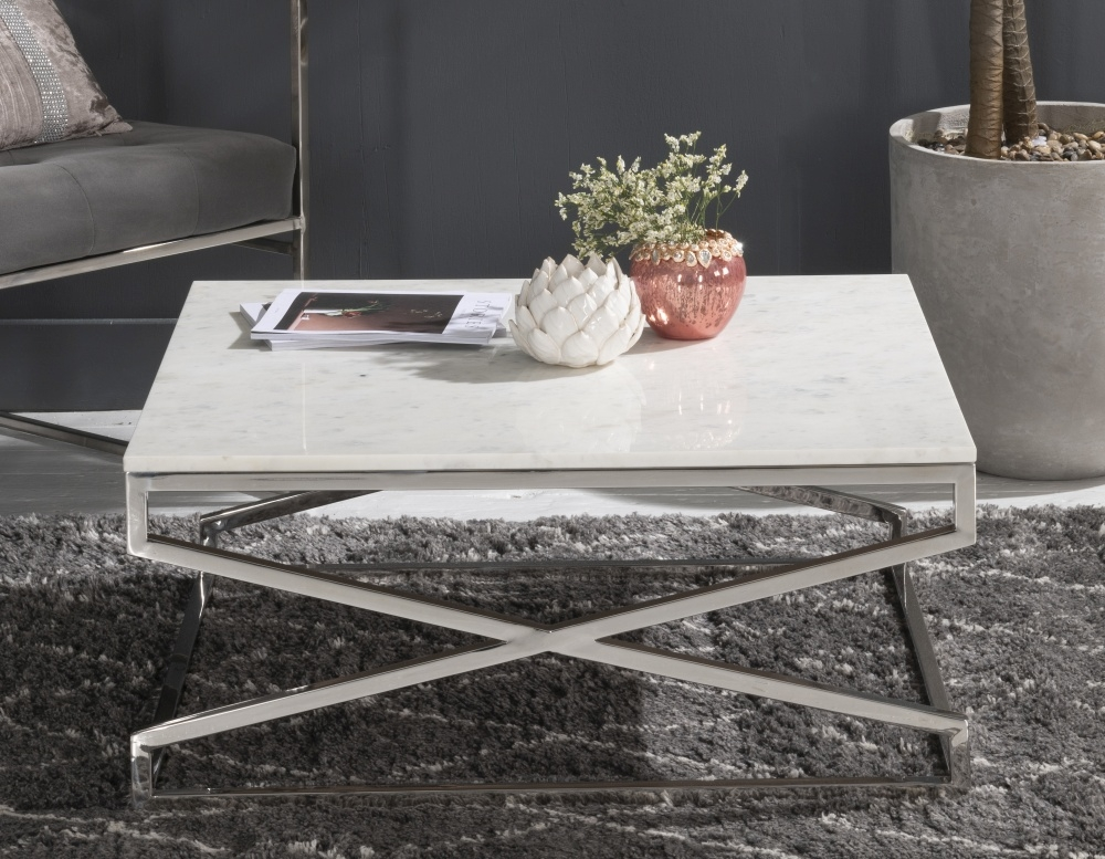 Crossroad White Marble Coffee Table - Sqaure Stainless Steel Chrome Base