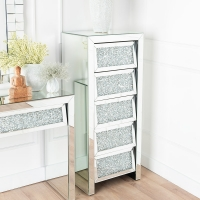 Urban Deco Crushed Diamond Angled Mirrored 5 Drawer Tall Chest