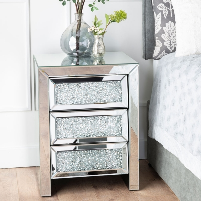 Urban Deco Crushed Diamond Angled Mirrored Medium Bedside Cabinet