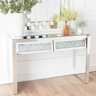 Urban Deco Crushed Diamond Angled Mirrored Dressing Cum Console Table