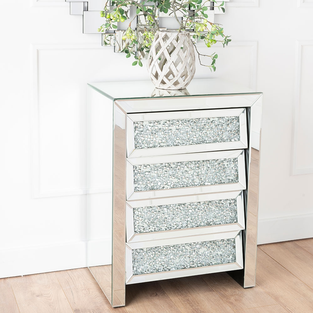 Urban Deco Crushed Diamond Angled Mirrored Large Bedside Cabinet