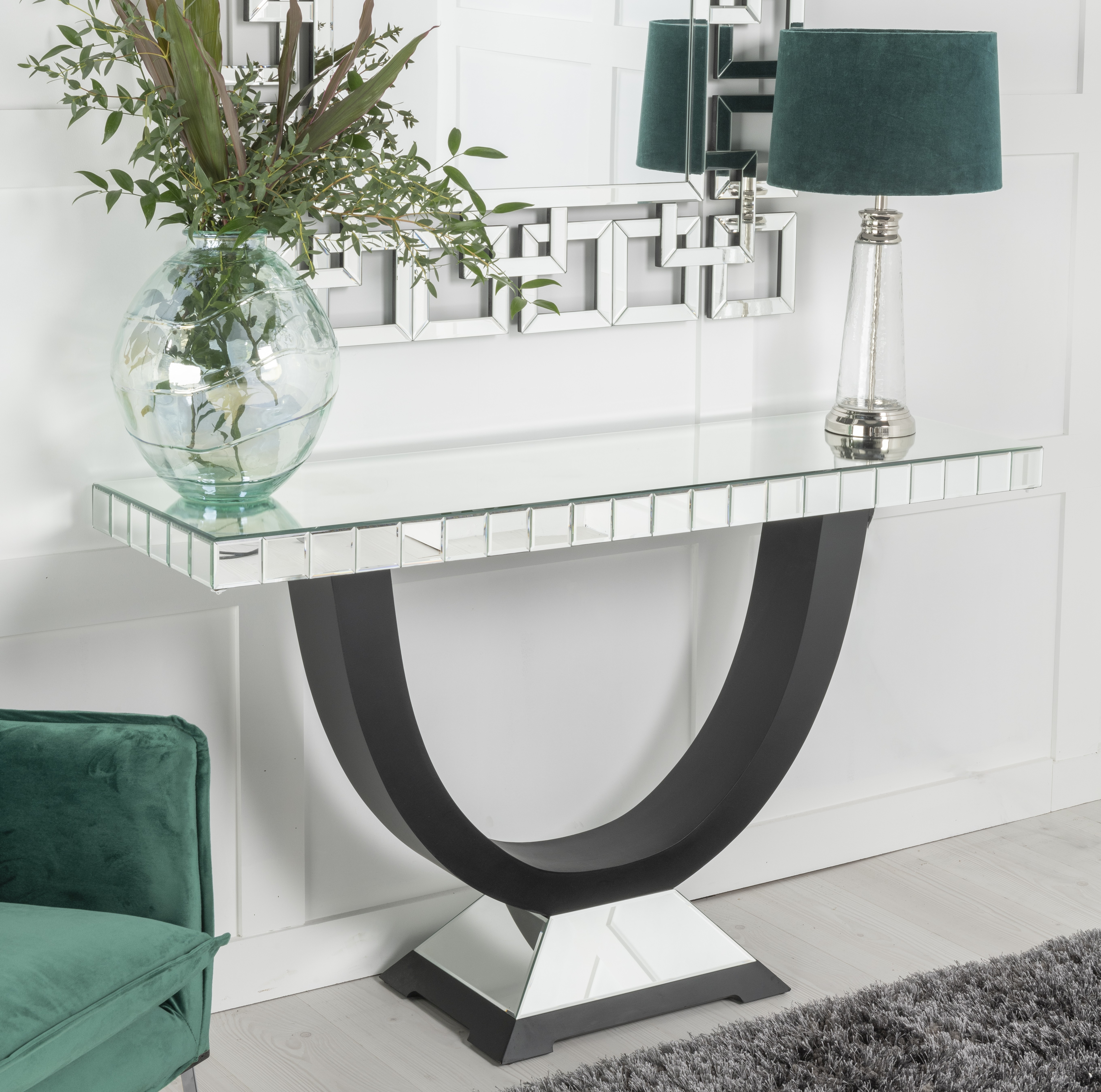 Urban Deco Crystal Mirrored Console Table