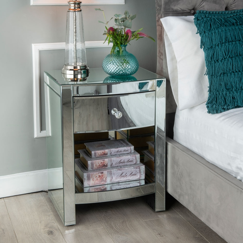 Urban Deco Curve Mirrored 1 Drawer Bedside Cabinet