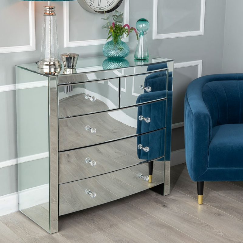 Urban Deco Curve Mirrored 3+2 Drawer Wide Chest