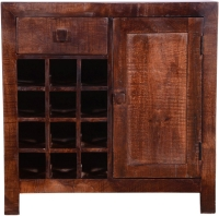 Urban Deco Dakota Dark Mango Distressed 1 Door 1 Drawer Wine Cabinet