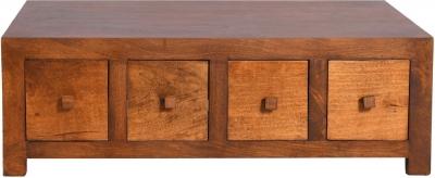 Dakota Indian Mango Wood 8 Drawer Storage Coffee Table - Dark