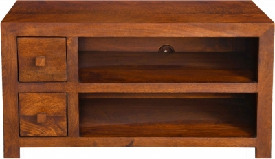 Dakota Indian Mango Wood Small 90cm Plasma TV Unit - Dark