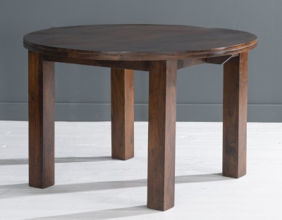 Dakota Indian Mango Wood 120cm Round Dining Table - Dark