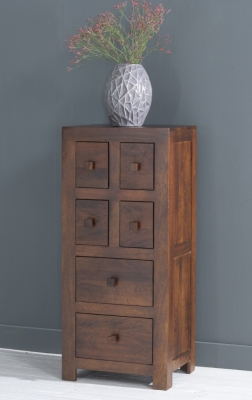 Dakota Indian Mango Wood Tall CD Storage Media Chest - Dark