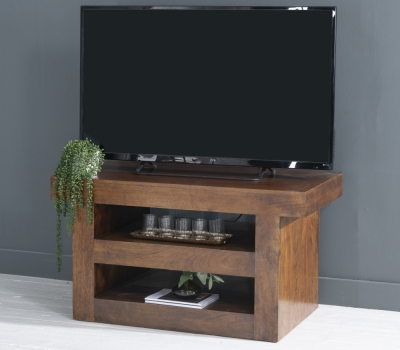 Dakota Indian Mango Wood 110cm Medium TV Unit - Dark