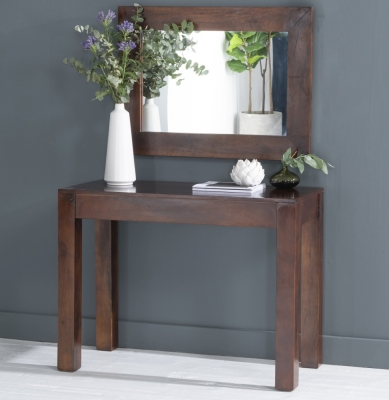 Dakota Indian Mango Wood 100cm Console Table - Dark