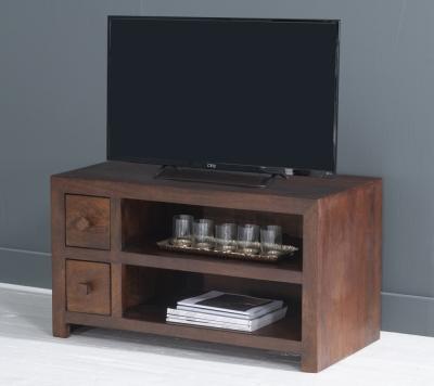 Dakota Indian Mango Wood Small 90cm Plasma TV Unit - Dark