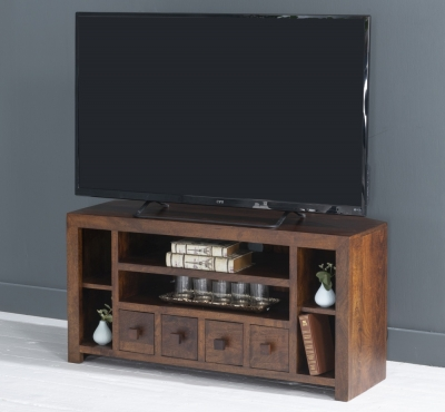 Dakota Indian Mango Wood 110cm Corner TV Unit - Dark