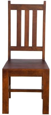 Dakota Indian Mango Wood Slatted Back Dining Chair - Dark