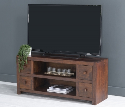 Dakota Indian Mango Wood Large 120cm Plasma TV Unit - Dark