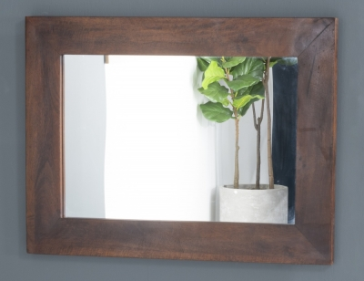Dakota Indian Mango Wood Rectangular Wall Mirror - 85cm x 65cm Dark