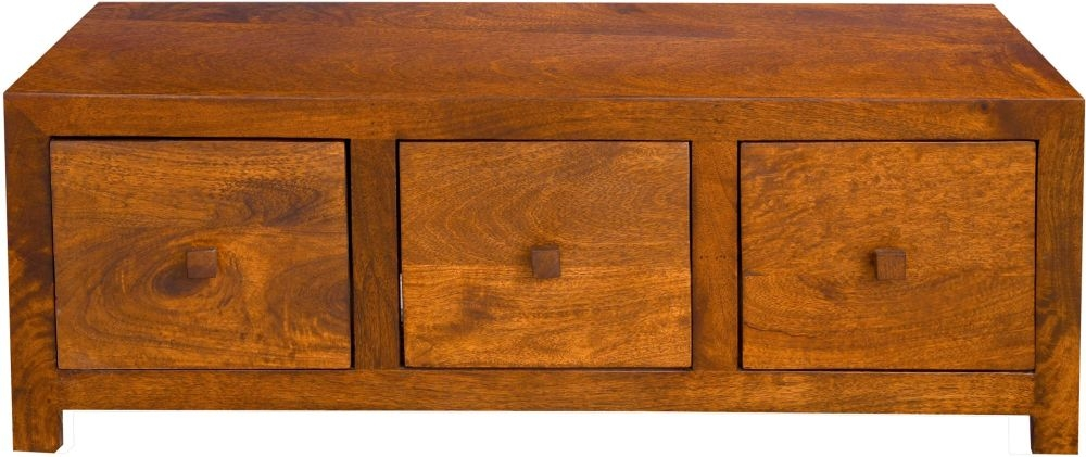 Dakota Indian Mango Wood 6 Drawer Storage Coffee Table - Dark