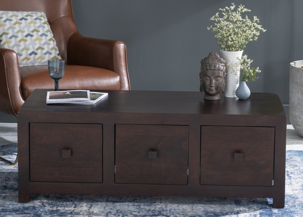 Dakota Indian Mango Wood 6 Drawer Storage Coffee Table - Dark