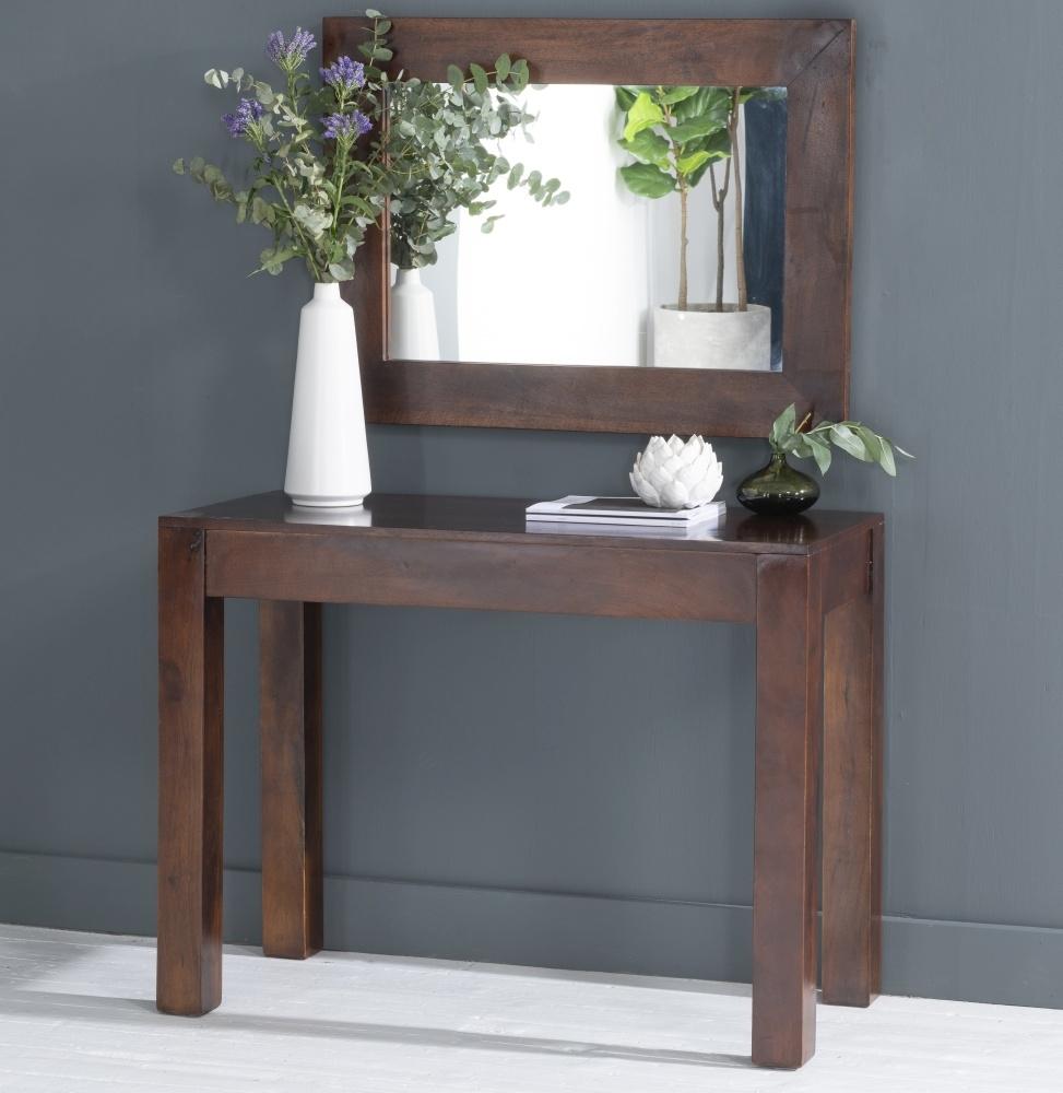 Dakota Indian Mango Wood 100cm Console Table - Dark
