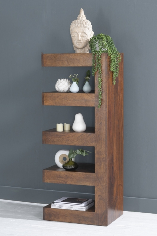 Dakota Indian Mango Wood Open Display Unit - Dark