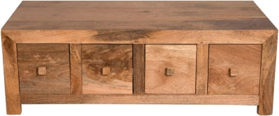Dakota Indian Mango Wood 8 Drawer Storage Coffee Table - Light