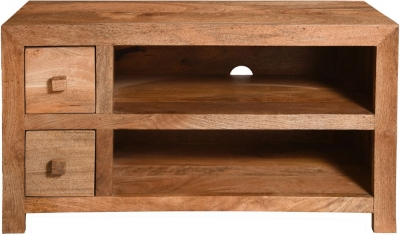 Dakota Indian Mango Wood Small 90cm Plasma TV Unit - Light