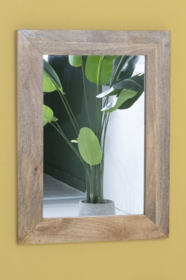 Dakota Indian Mango Wood Rectangular Wall Mirror - 85cm x 65cm Light
