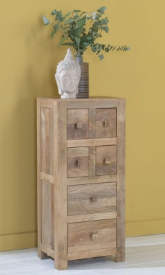 Dakota Indian Mango Wood Tall CD Storage Media Chest - Light
