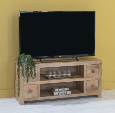 Dakota Indian Mango Wood Large 120cm Plasma TV Unit - Light