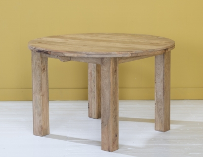 Dakota Indian Mango Wood 120cm Round Dining Table - Light