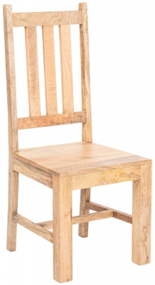 Dakota Indian Mango Wood Slatted Back Dining Chair - Light