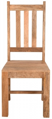 Dakota Indian Mango Wood Slatted Back Dining Chair - Light