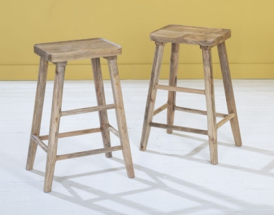 Dakota Indian Mango Wood Bar Stool - Light