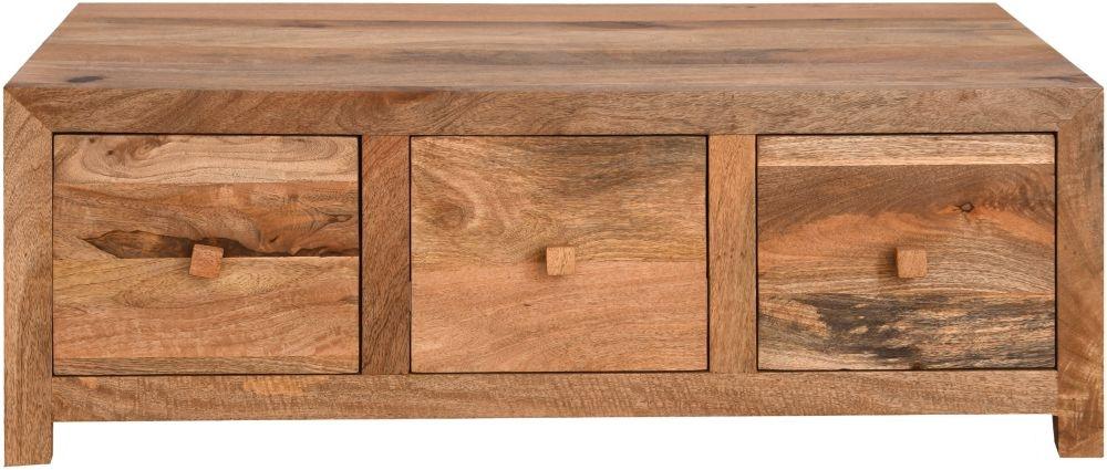 Urban Deco Dakota Light Mango Wood 6 Drawer Storage Coffee Table