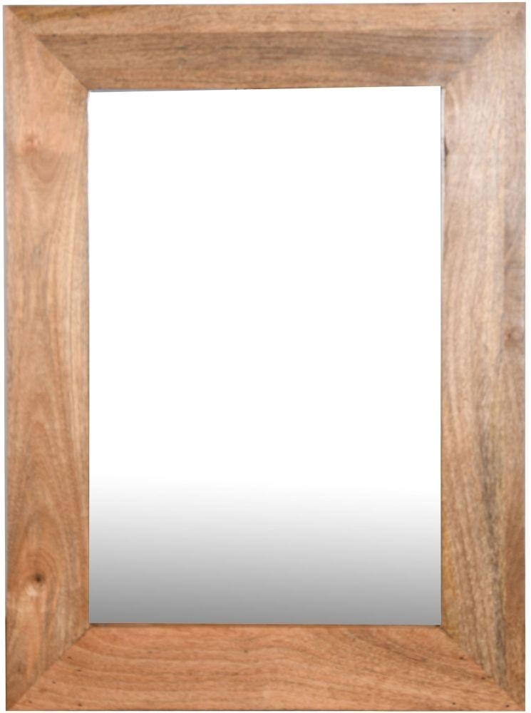 Dakota Indian Mango Wood Rectangular Wall Mirror 85cm X 65cm Light
