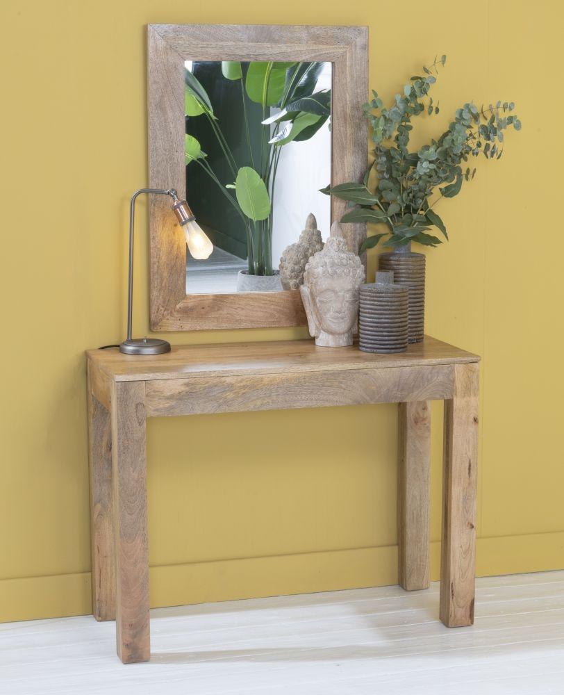 Dakota Indian Mango Wood 100cm Console Table - Light