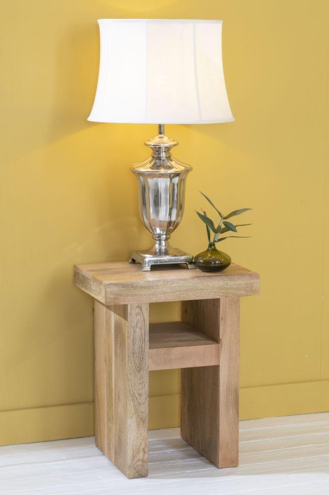 Dakota Indian Mango Wood Side Table - Light