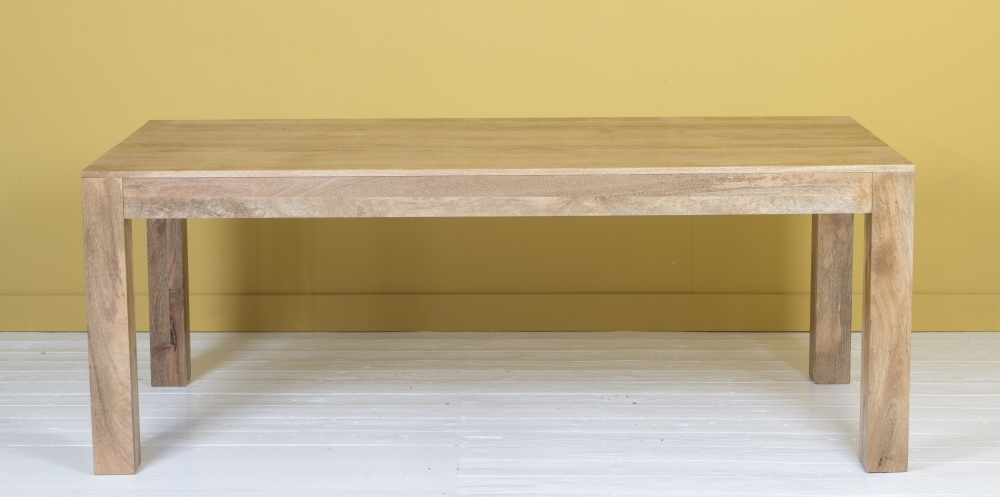 Dakota Indian Mango Wood 200cm Rectangular Dining Table - Light