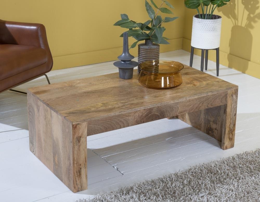 Dakota Indian Mango Wood Plain Coffee Table - Light