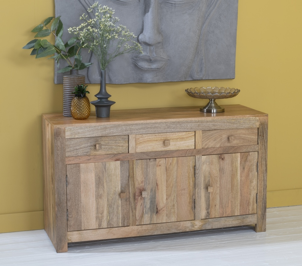 Dakota Indian Mango Wood 3 Door Large Sideboard - Light