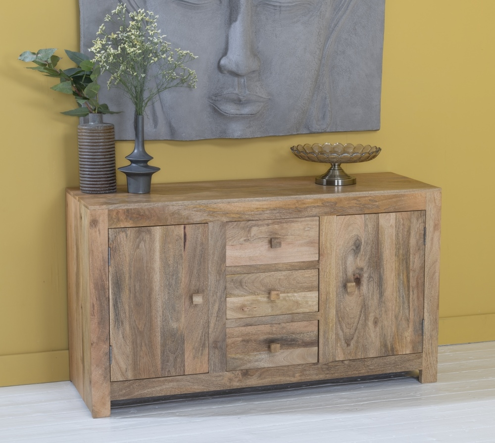 Dakota Indian Mango Wood Kitchen Sideboard - Light