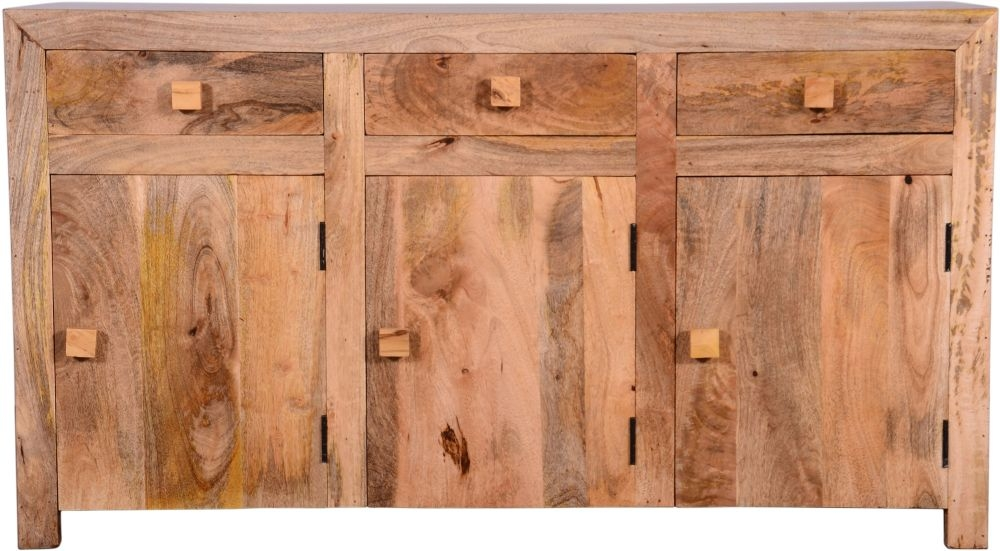 Urban Deco Dakota Light Mango Rustic 3 Door 3 Drawer Sideboard